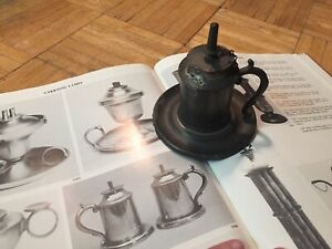 19th Century Pewter Whale Oil Lamp Nice Wide Base All Orig W Burner Chain Cap