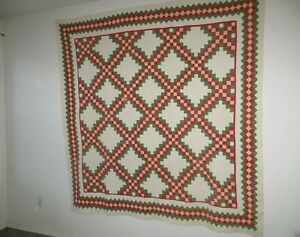 Vintage All Hand Stitched Quilted Quilt Blanket Red Yellow White Green