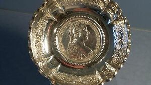 Ornate Solid Silver Dish Set With Silver Maria Theresa Coin Dated 1780