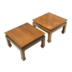 21x21x14 Pair Asian Chinese Ming Maple Wood Bunching Coffee End Tables Vintage