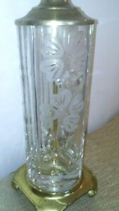 Dresden Signed Cylinder Shape Cut Crystal Table Lamp Flowers Tall