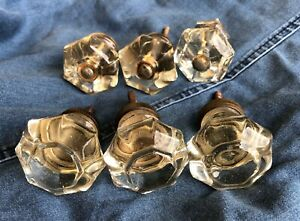 6 Antique Vintage Clear Glass Cabinet Knobs Drawer Pulls 2 Sets Of 3
