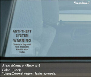 4x Anti Theft System Warning Car Security Stickers Anti Theft Decals Best Gifts