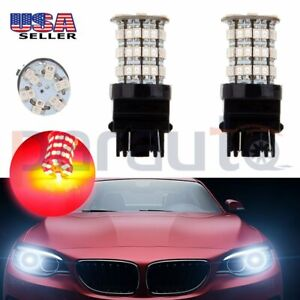 A Pair Of Car 3157 Cree Led 60 Smd Us Reverse Backup Red Bulb Lights 40w 4000lm