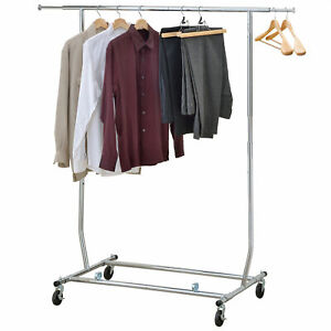 Commercial Grade Extendable Rod And Adjustable Height Rolling Garment Rack