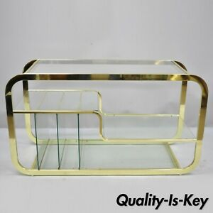 Mid Century Modern Brass Glass Server Table Record Console After Milo Baughman