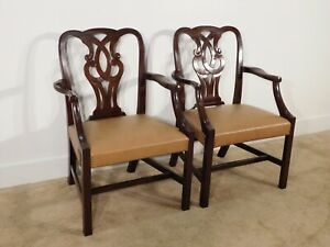 Pair Baker Furniture Leather Mahogany Museum Chippendale Arm Chairs 2