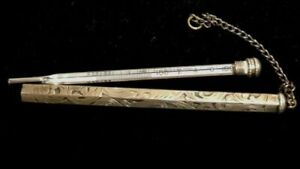 Rare Repouss Sterling Silver Doctors Nurse Thermometer Holder On Chain Fob