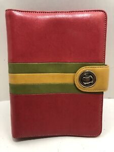 Classic 7 Rings Franklin Covey Pink Green Yellow Leather Planner Binder