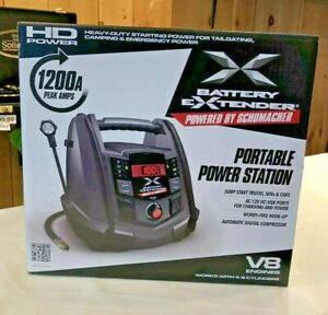 Schumacher Battery Extender Jump Starter Air Compressor 12 Volt 1200 Amp Mobile