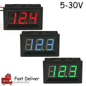 Led Digital Display Voltmeter Car Motorcycle Voltage Gauge Panel Meter 12v 24v