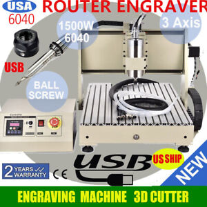 1500w Usb 3 Axis 6040 Cnc Router Engraver Engraving Milling Machine Metal Carve
