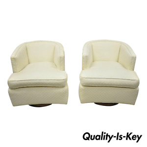 Pair Mid Century Modern Wood Base Swivel Club Lounge Chairs After Milo Baughman
