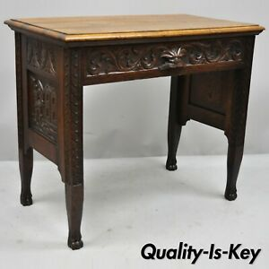 Black Forest Carved Oak Jacobean Small Writing Desk Table W Northwind Face