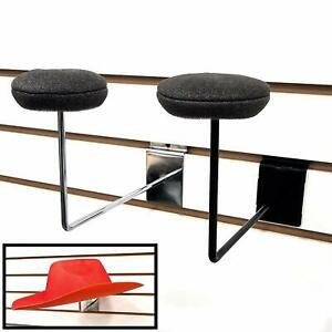 Slatwall Single Hat Display Millinery Headwear Display Rack With Foam Pad