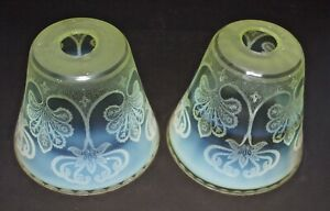 Rare Matching Pair Of Etched Arts And Crafts Vaseline Glass Lamp Shades