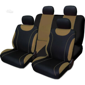 For Toyota New Sleek Black And Tan Flat Cloth Car Truck Seat Covers Set
