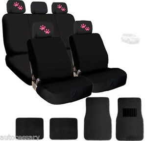 For Ford New 4x Pink Paws Logo Headrest Black Fabric Seat Covers And Mats