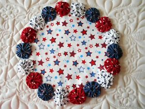 Americana Red White Blue Fabric Candle Mat Table Runner Topper Yoyo Doily 23