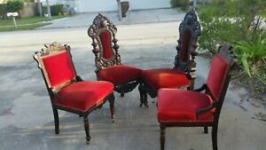 4 Vintage Upscale Dark Oak Carved Wooden Victorian Style Chairs Special Carving