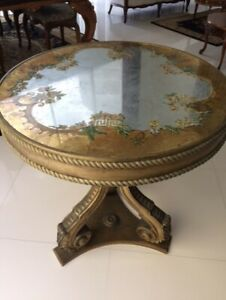Antique Italian Reverse Painted Glass Carved Gold Wood Hall Table Console Entry
