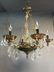 Vintage Crystal Empire Chandelier 6 Lights