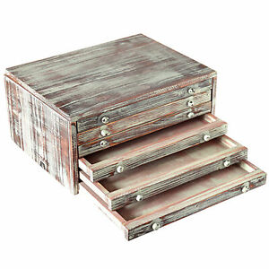 Mygift Torched Wood 6 drawer Desktop Document Filing Cabinet Organizer Box