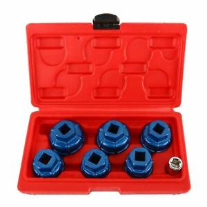 7pcs Aluminium Cup Oil Filter Cap Wrench Socket Remover Tool Kit For Mercedes Vw