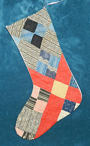 Primitive Antique Vintage Cutter Quilt Christmas Stockings Blue Red 16 74