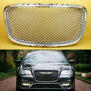 Bentley Type Abs Front Grille 2015 2019 Fit Chrysler 300 300c Sedan 4d Chrome