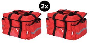 2x Insulated Red Nylon Hot Cold Catering Delivery Food Carrier Bag Drink Cooler