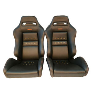 2 Jdm Recaro Sr3 Black Leather Reclinable Bucket Racing Seats Bmw Cars Sale