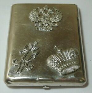 Cigarette Case Imperial Russia 84 Silver Moscow 1895 Double Eagle Signings