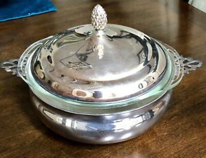 Sheffield Silverplate Serving Dish With Pyrex Insert For Use With Oven