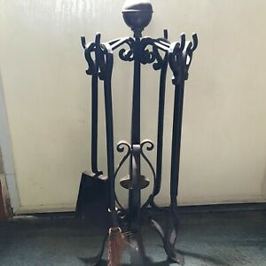 Vintage Wrought Iron Five Piece Fireplace Tool Set Brass Ball Top