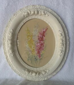 Antique White 1900s Large Oval Gesso Wood Ornate Picture Frame W Floral Painting