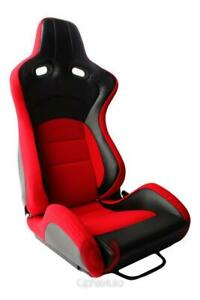 Cipher Vp 8 Euro Racing Seats Pair Red Premium Fabric New W dual Lock Sliders