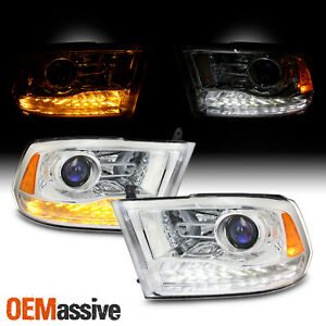 Factory Upgrade For 09 18 Dodge Ram Led Drl Switchback Projector Headlight