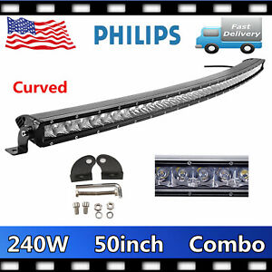 50 240w Curved Led Work Light Bar Flood Spot Combo Offroad 4wd Single Row Ford