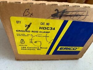 Box Of 13 Erico Hdc34 Ground Rod Clamps 3 4 Wire Range 1 0 8 Awg Copper Nos