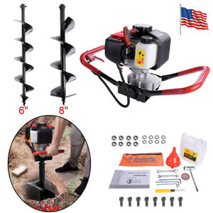 200rpm One Man 52cc Post Hole Digger Earth Fence Auger Fence 6 8 Drill Bit Usa