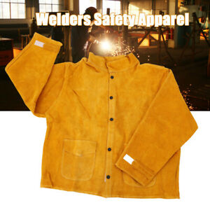 Cowhide Leather Safety Welding Coat Protective Apron Apparel Jacket For Welders