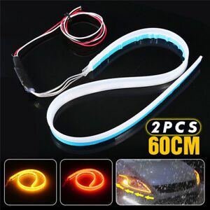 2x 60cm Led Switchback Headlight Sequential Drl Light Strip Tube Red