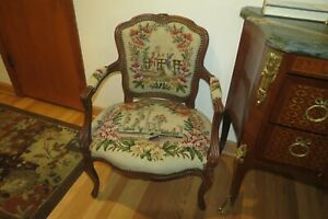 Antique French Needlepoint Louie Xv Hand Carved Arm Chair Beautifull