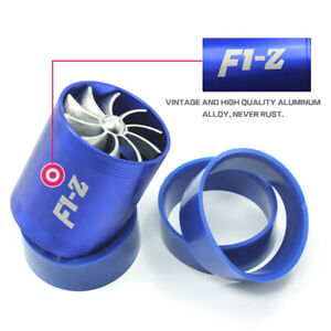 Universal Fuel Gas Saver Air Intake Dual Supercharger Turbineturbo Fan Blue X6f8