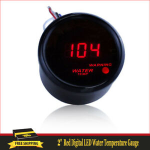Car Black 2 52mm Red Digital Led Water Temp Temperature Gauge F Att