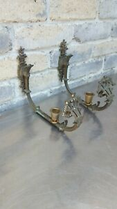 Antique Ornate French Dep Muster Bronze Wall Sconces Candle Holders Pair