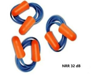 100 Pairs Disposable Soft Polyurethane pu Foam Ear Plugs Nrr Db32 With Cord
