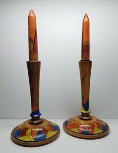 Antique Polychrome Arts Crafts Wood Candlesticks W Removeable Wooden Candles