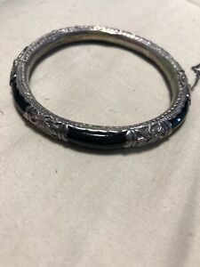 Vintage Antique Chinese Sterling Silver Bamboo Floral Bracelet Bangle Jewelry
